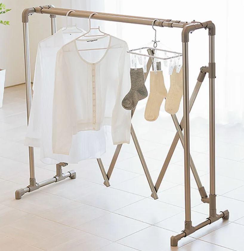 布団もシーツも楽に干せるダブルバー物干し 高さ固定式(竿2本)タイプ