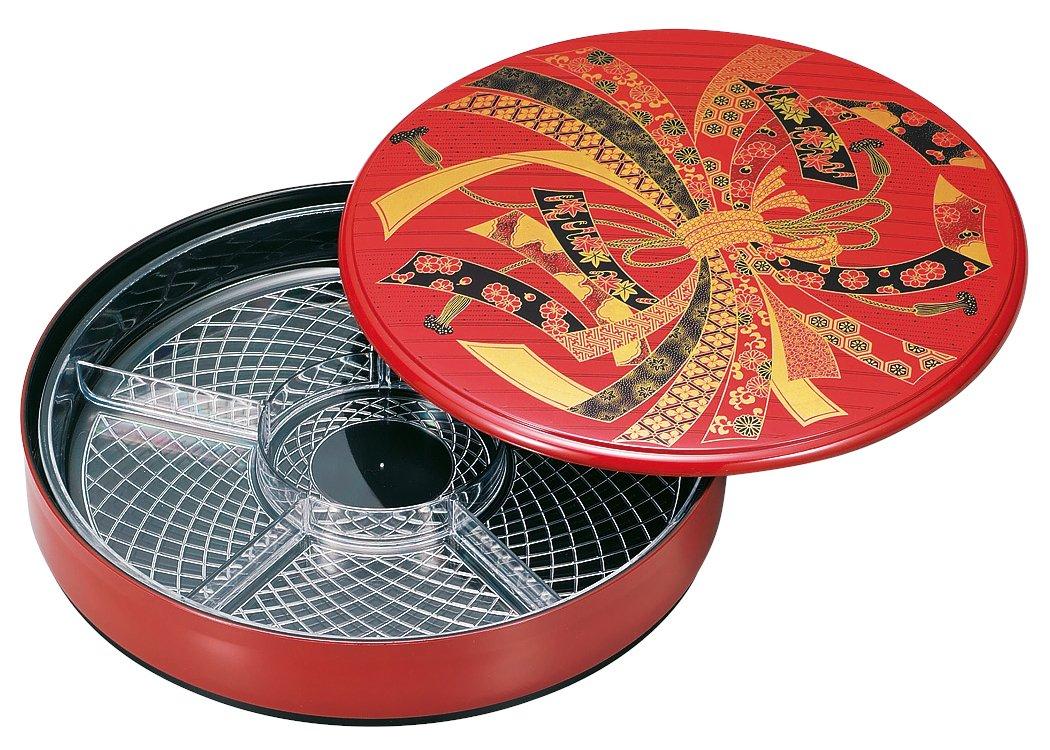 山中漆器 10.0寿司桶(中子付)朱 のし 33-5311
