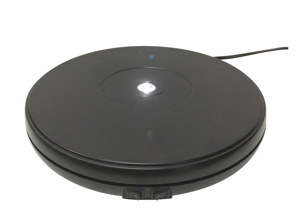 電動ターンテーブル LEDライト付き 黒Nal250