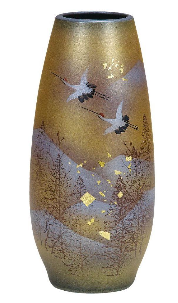 陶器 花瓶 木立鶴 AK5-1254