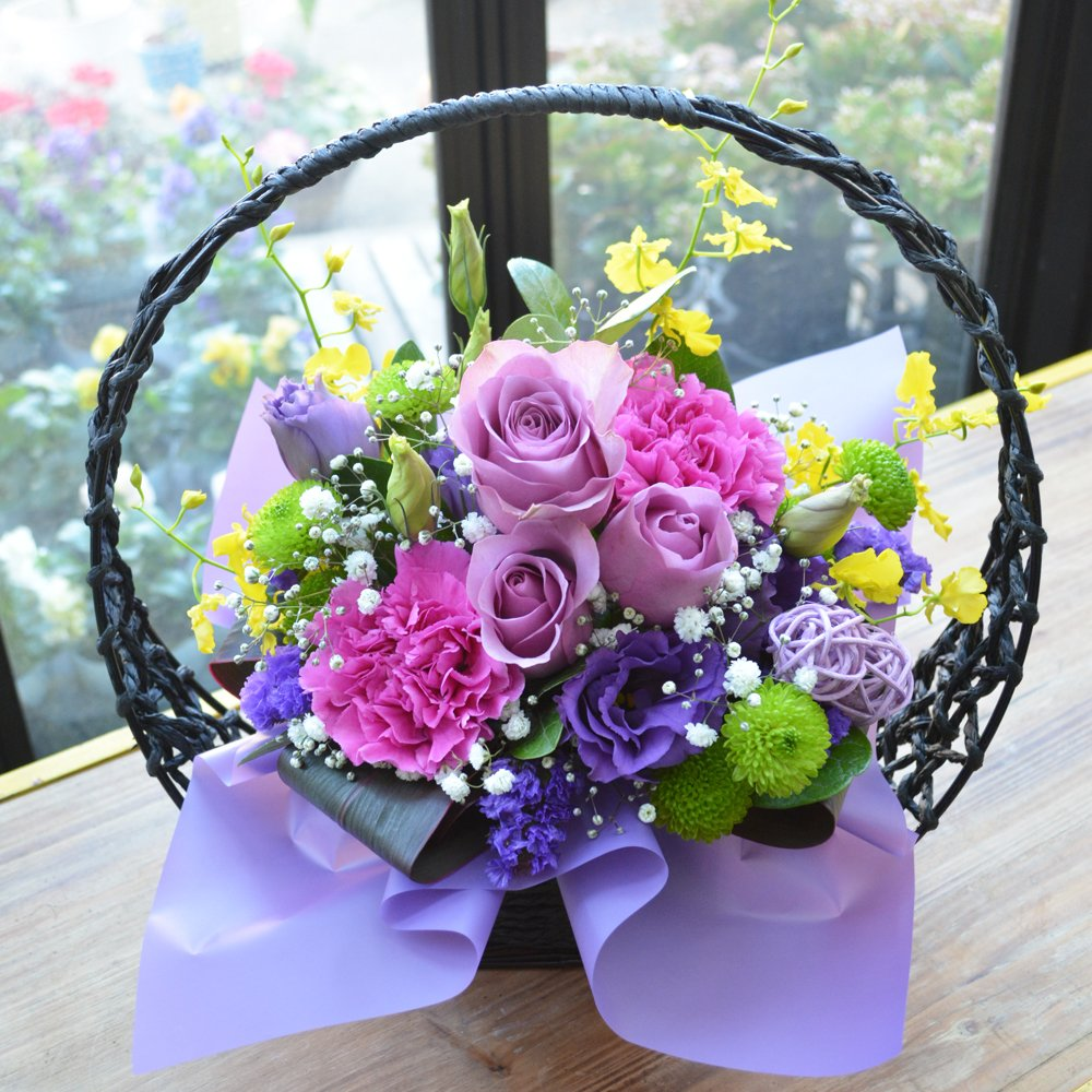 生花 フラワーギフト 和風アレンジメント 紫月