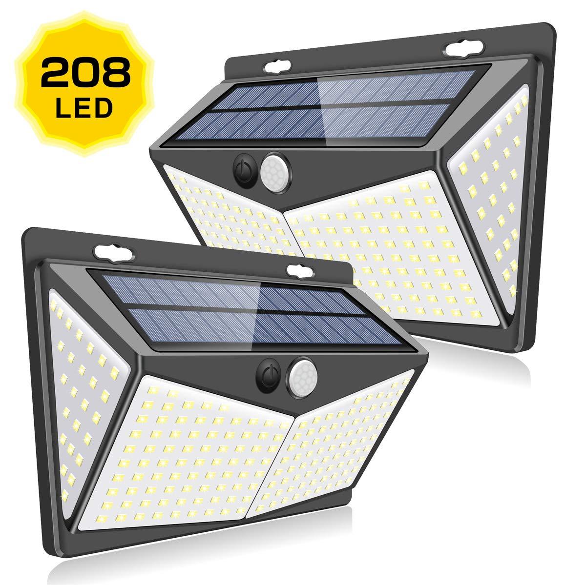【最新版208LED】センサーライト ソーラーライト 4面発光 屋外照明