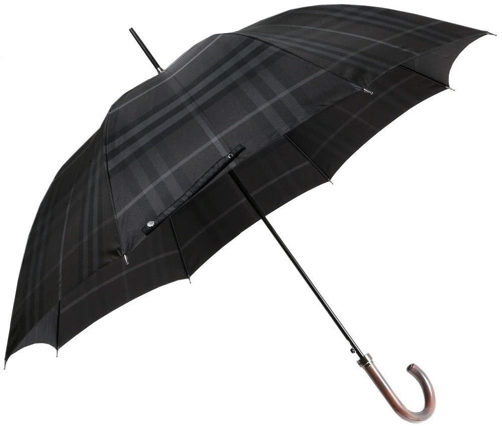 チェック柄カバー付長傘雨傘 メンズ
